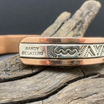 Load image into Gallery viewer, Sterling Silver Copper & Stamped Sterling Silver Bracelet By R. Secatero & S. Apache