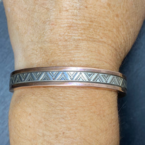 Sterling Silver Copper & Stamped Sterling Silver Bracelet By R. Secatero & S. Apache