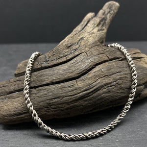 2.2mm sterling silver oxidized reverse rope chain