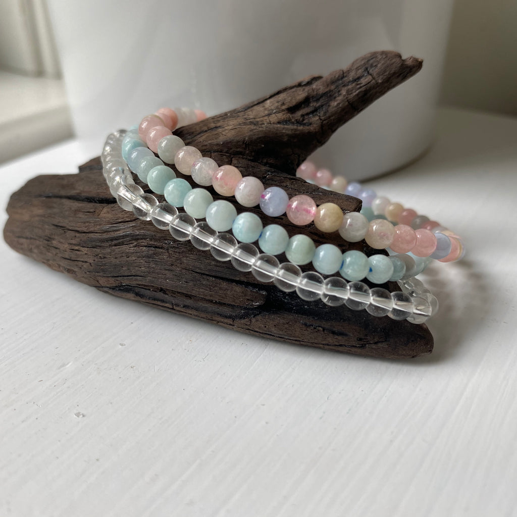 scorpio gemstone bracelet set clear quartz beryl amazonite