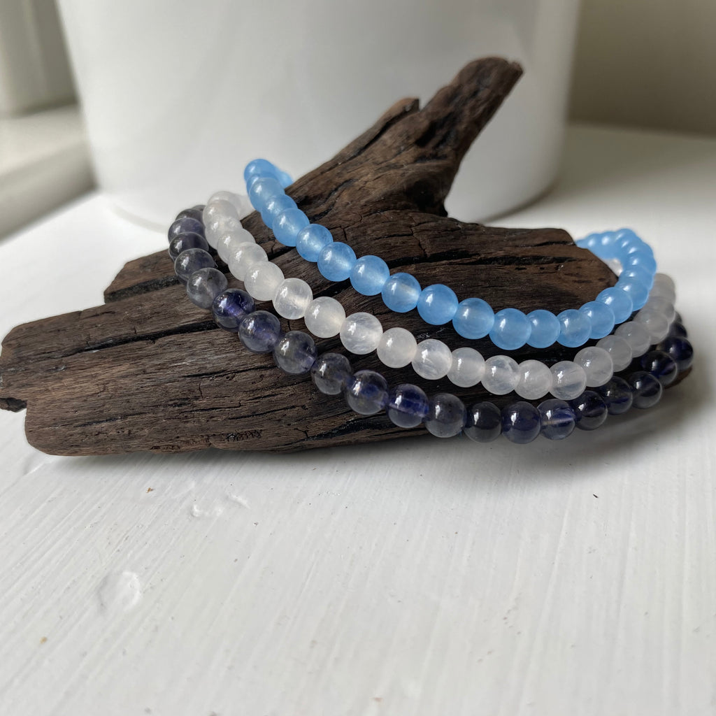 taurus natural gemstone bracelet set iolite light blue jade selenite