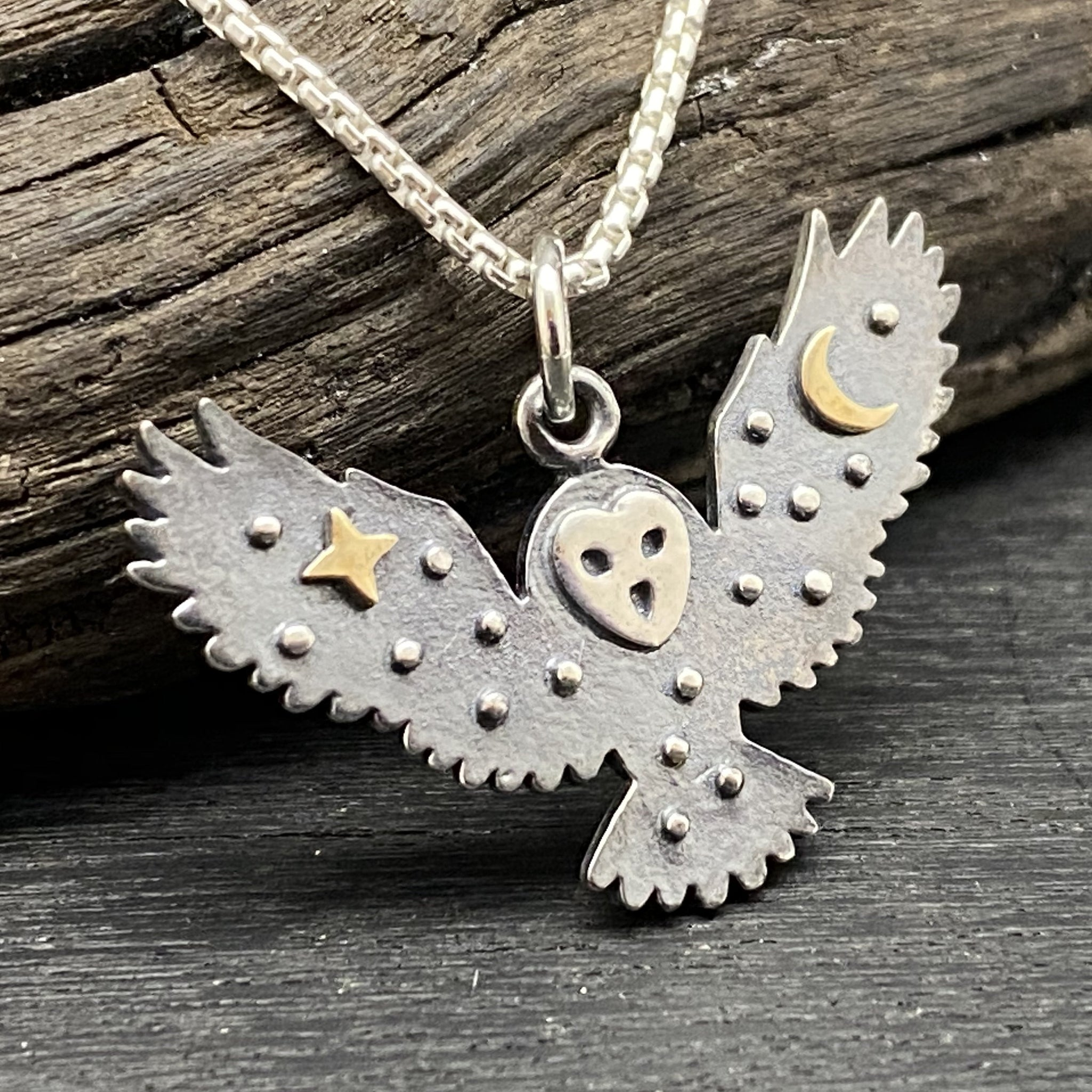 Sterling Silver Celestial Owl Necklace
