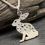 Load image into Gallery viewer, Sterling Silver Tri Tone Celestial Rabbit Necklace With Mountains