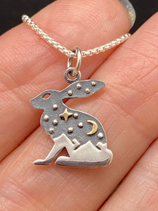 Sterling Silver Tri Tone Celestial Rabbit Necklace With Mountains