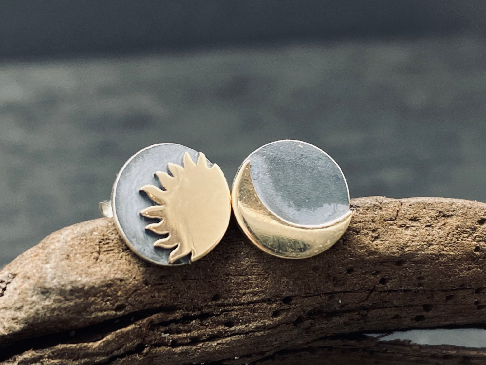 sterling silver celestial sun and moon earrings