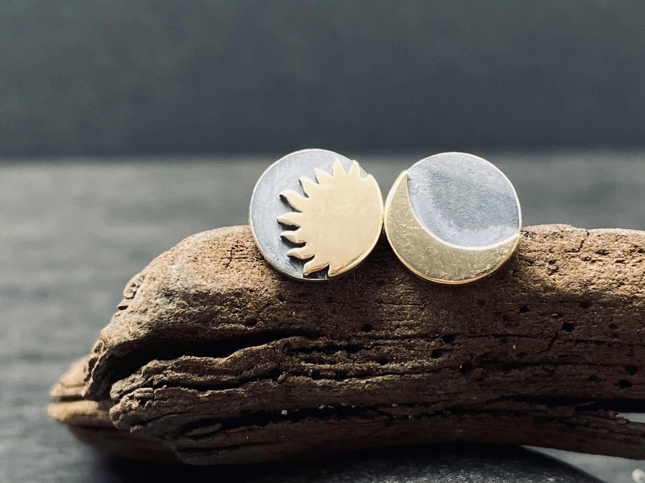 Sterling Silver Two Tone Celestial Stud Earrings