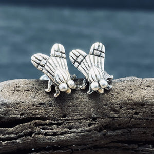 Sterling Silver Fly Stud Earrings