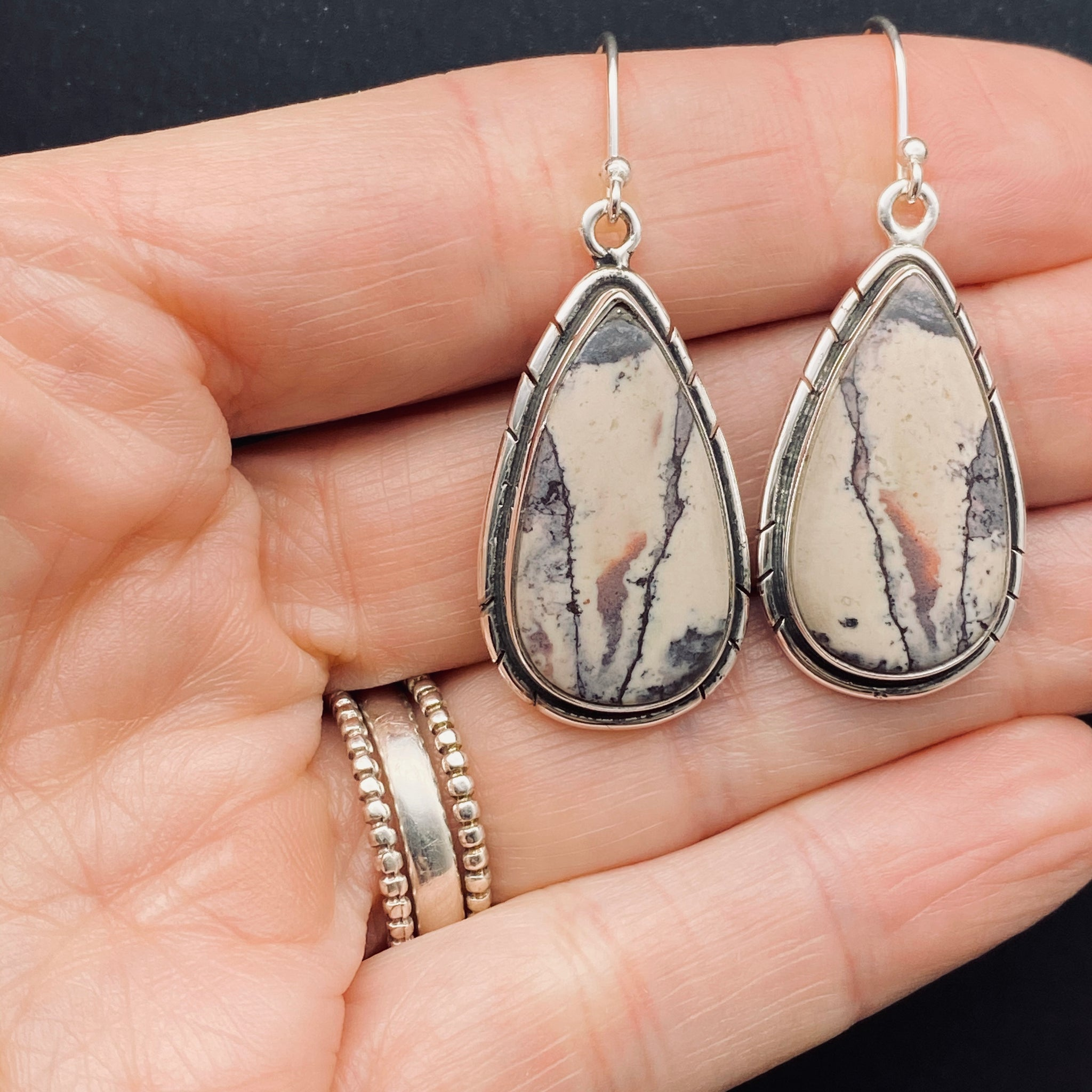 Sterling Silver Pocelain Jasper Stone Earrings