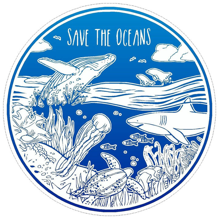 save the oceans waterproof car sticker