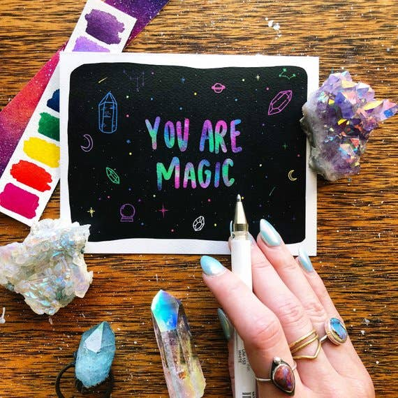 you are magic crystal blank greeting card jess weymouth