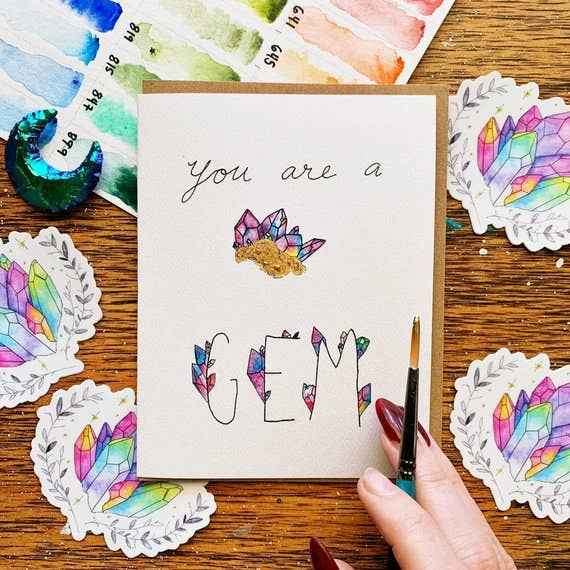 you're a gem crystal blank greeting card jess weymouth