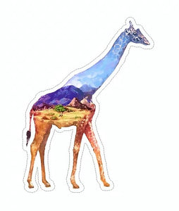 landscape giraffe vinyl waterproof sticker