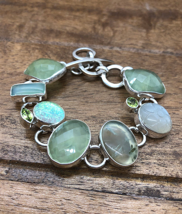 Sterling Silver Bracelet with Prehnite, Peridot, Blue Chalcedony and Dichroic Glass
