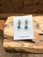 Load image into Gallery viewer, Navajo Artist Scott Skeets Sterling Silver Leaf and Turquoise Studs // Native American Made Jewelry // Silver Turquoise Studs