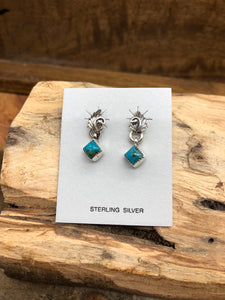 Navajo Artist Scott Skeets Sterling Silver Leaf and Turquoise Studs // Native American Made Jewelry // Silver Turquoise Studs