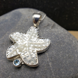 Sterling Silver Mother of Pearl Starfish Pendant with Blue Topaz