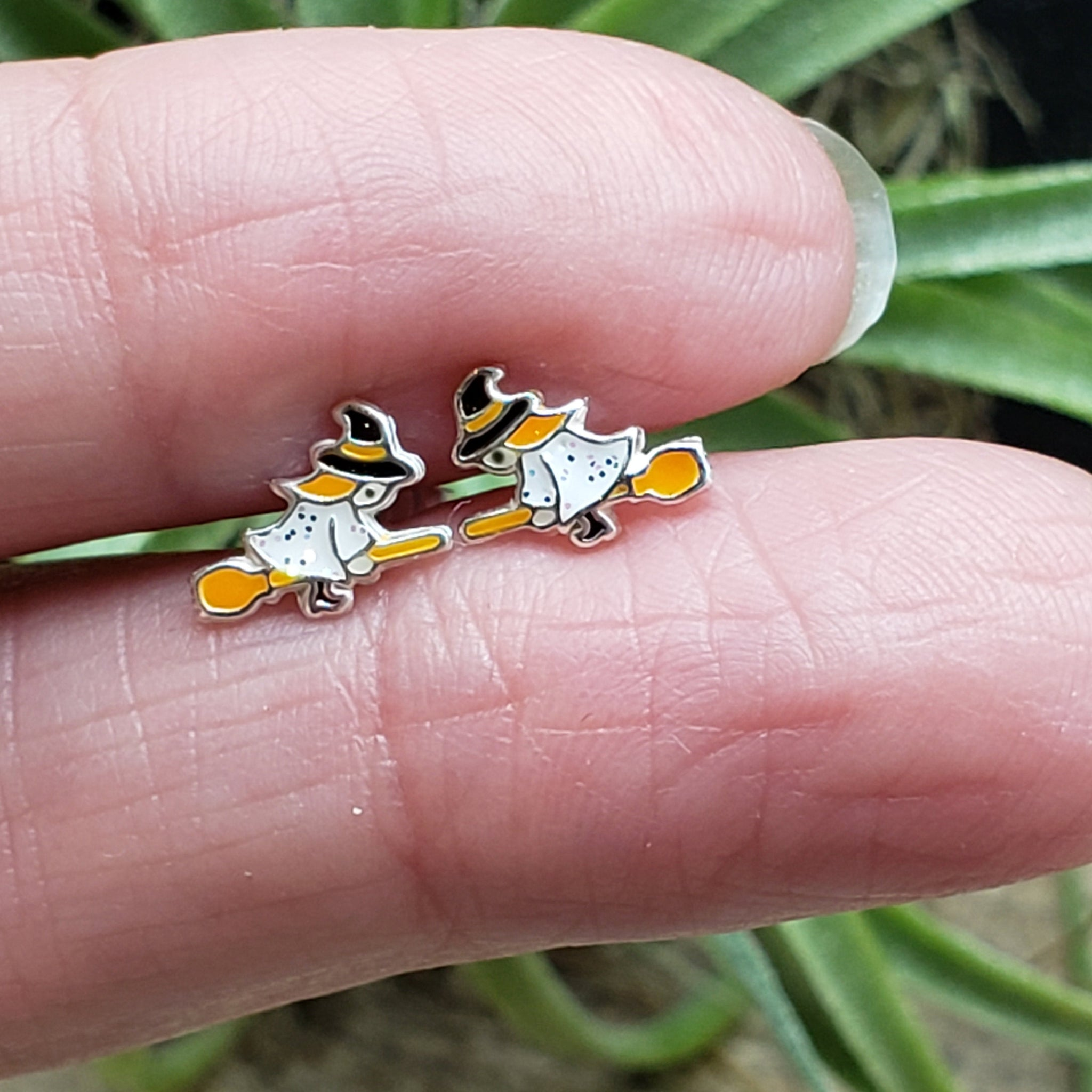 Sterling Silver Enamel Witch on a Broom Studs