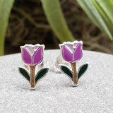 Sterling Silver Small Enamel Tulip Studs