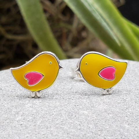Sterling Silver Small Enamel Yellow Chick Studs