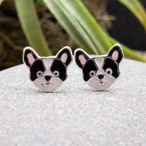 Sterling Silver Enamel Black and White Dog Studs