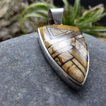 Load image into Gallery viewer, Navajo Made Inlay Tiger Eye and Picture Jasper Kokopelli Pendant