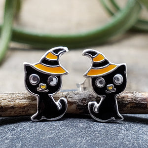 sterling silver cat in a witch hat halloween studs