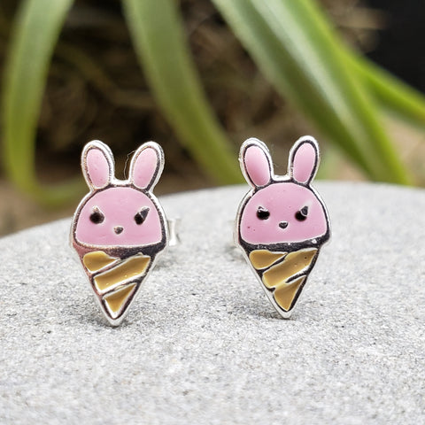 Sterling Silver Small Enamel Easter Bunny Ice Cream Cone Studs