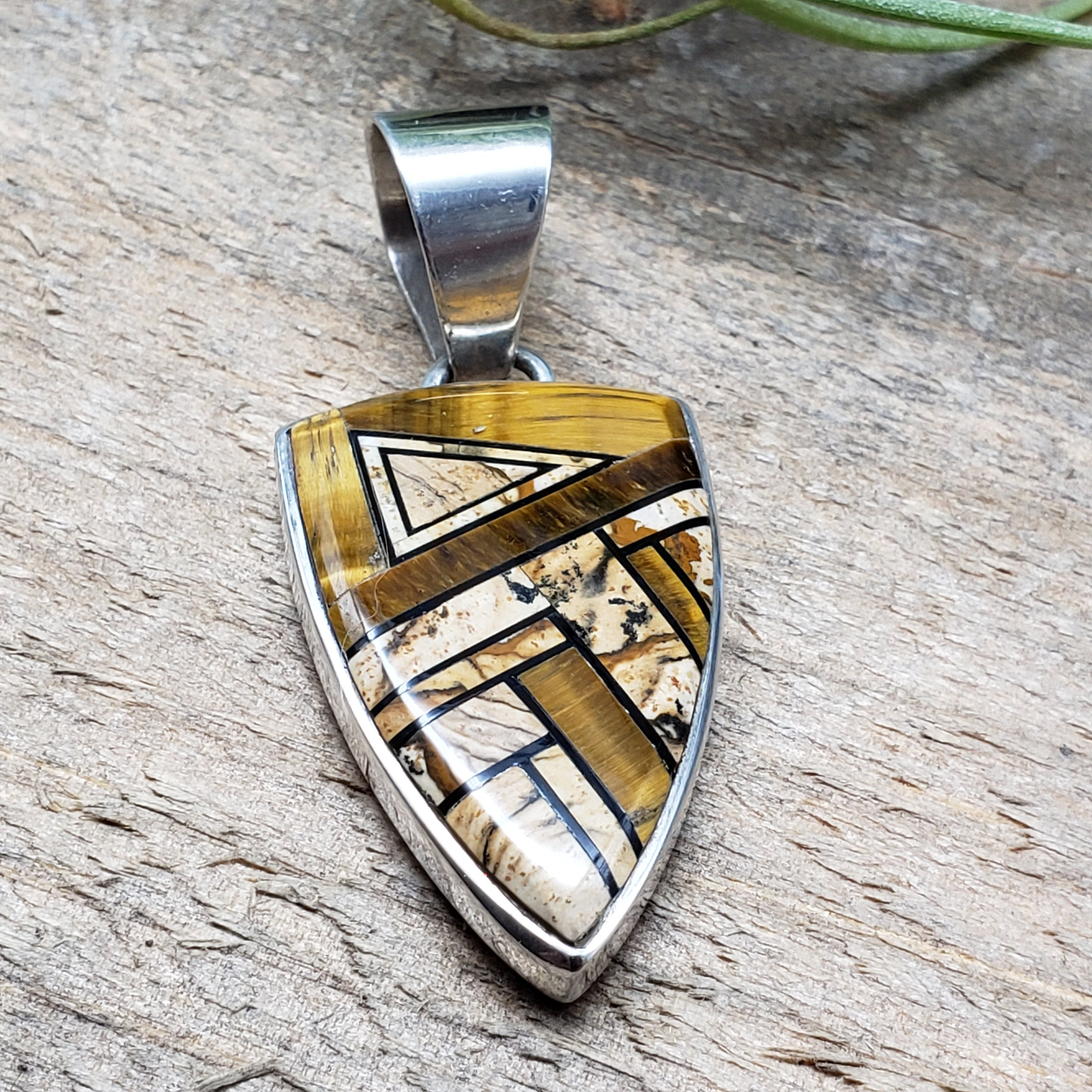 Navajo Made Inlay Tiger Eye and Picture Jasper Kokopelli Pendant