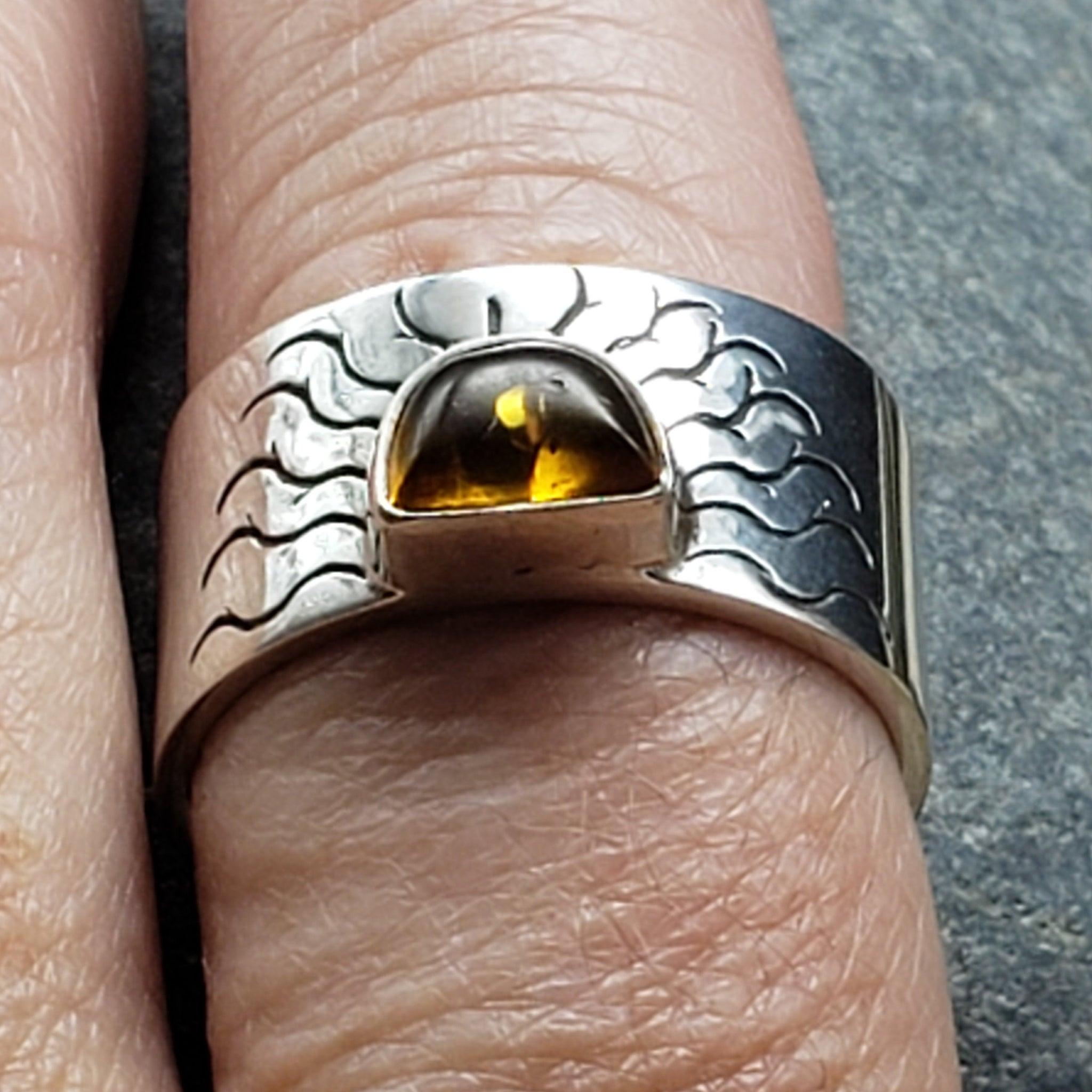 CLEARANCE Amber Sunburst Ring Sterling Silver