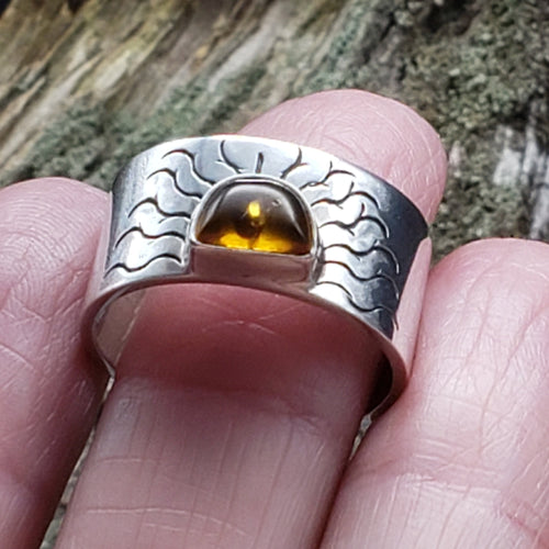 Amber Sunburst Ring Sterling Silver