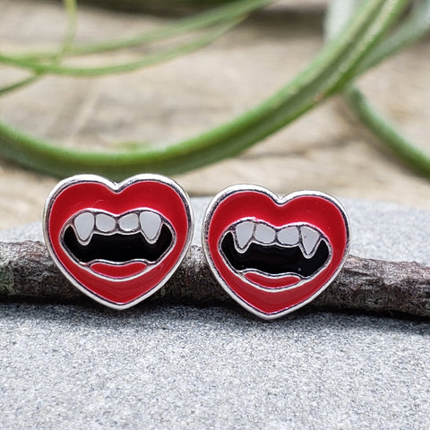 Sterling Silver Enamel Red Lips and Tongue Vampire Studs