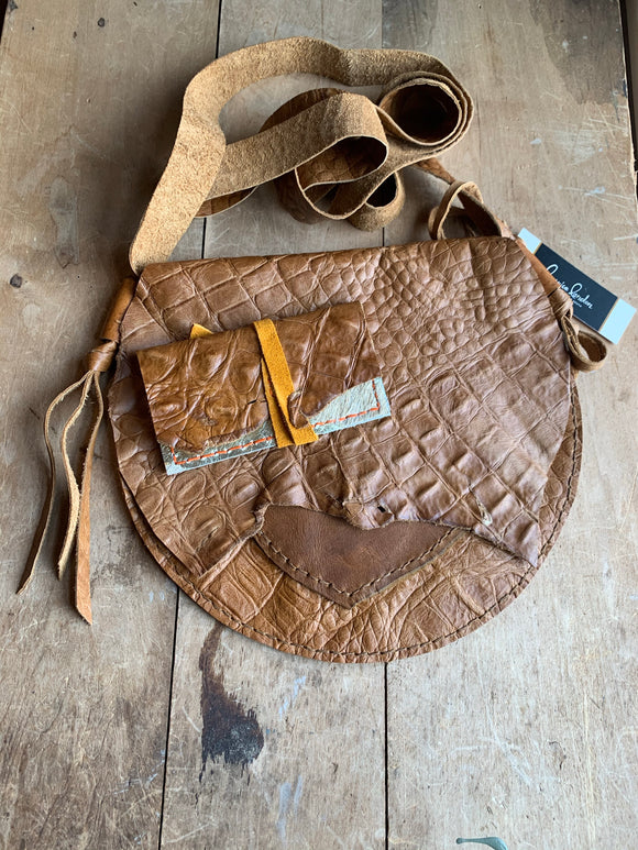 handmade bernice london honey croc crossbody bag and matching upcycled leather cardholder