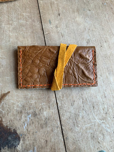 Bernice London Leather Crossbody Bag in Honey Croc with Matching Upcycled Leather Cardholder