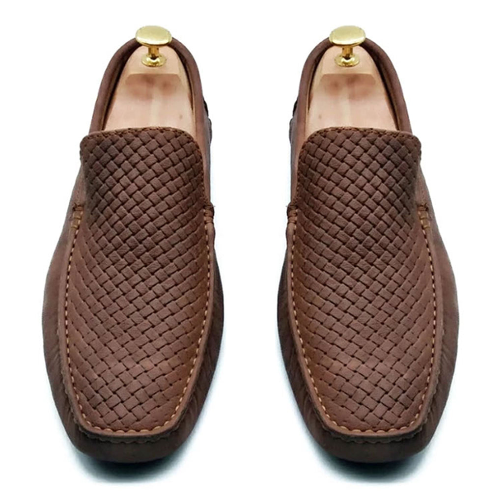 MESH PRINT BROWN LUXURY LOAFER