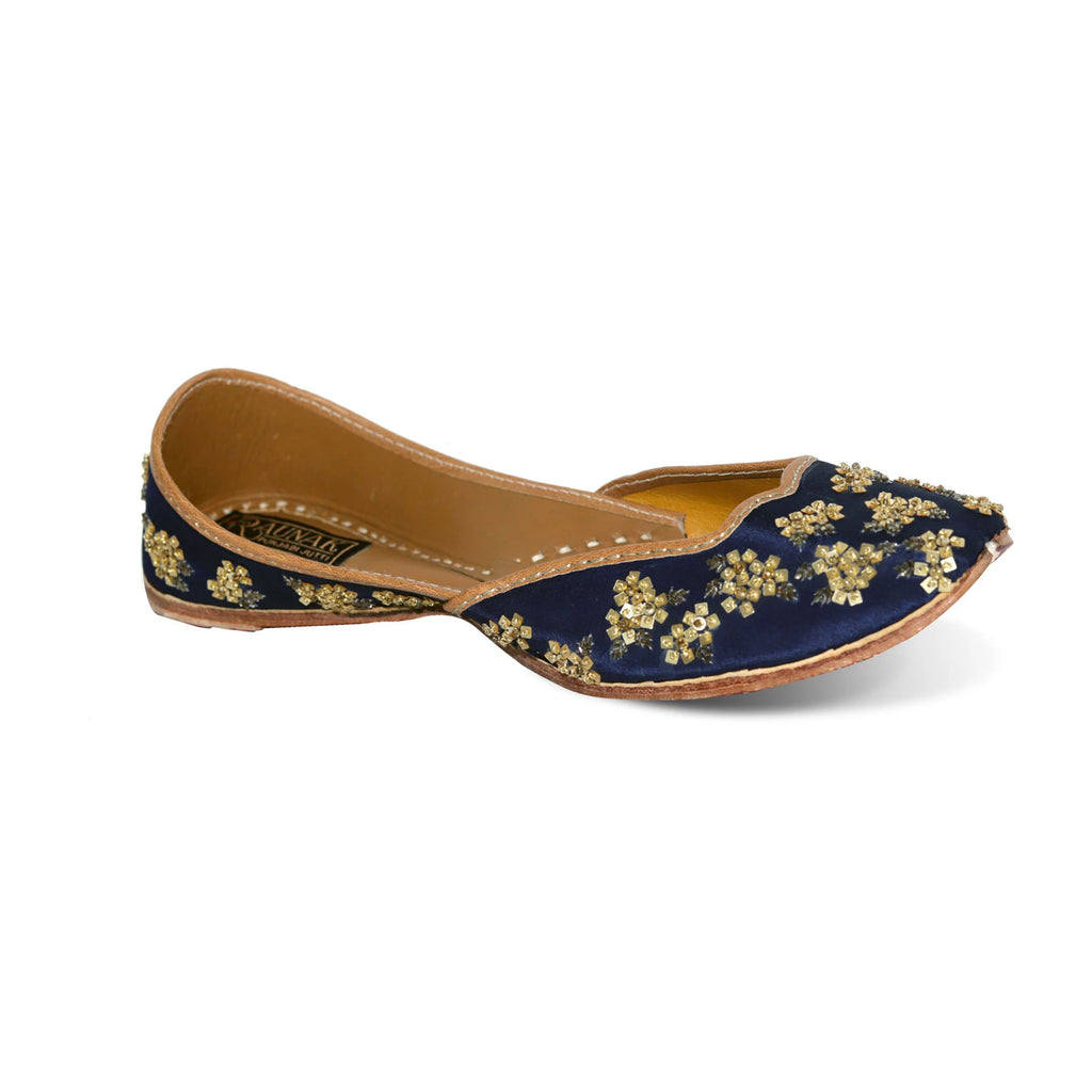 Blue Pure Leather Punjabi Jutti
