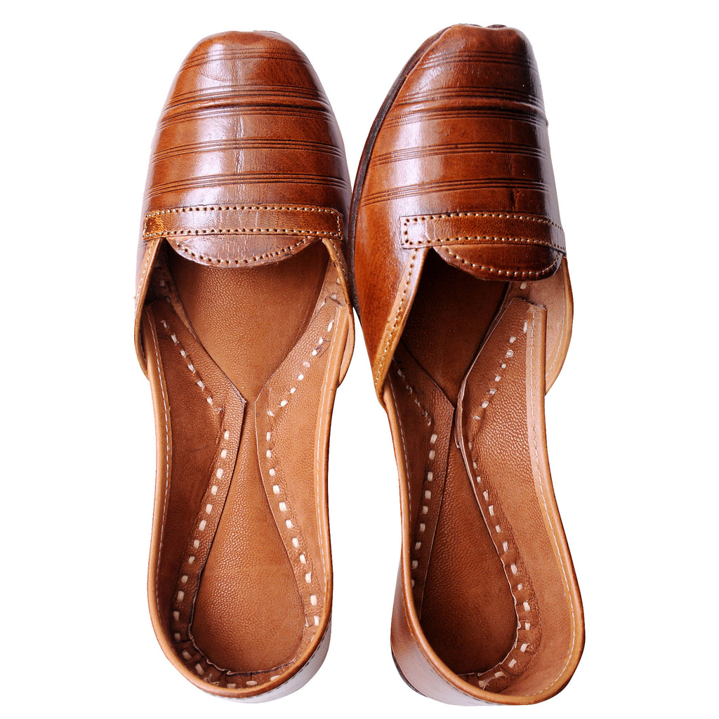 Hand Crafted  Brown Pure Leather Jutti
