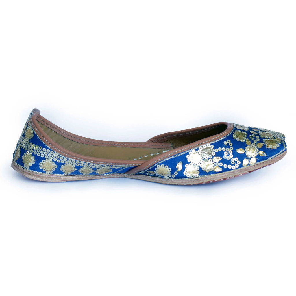 Blue Dabka Pure Leather Jutti