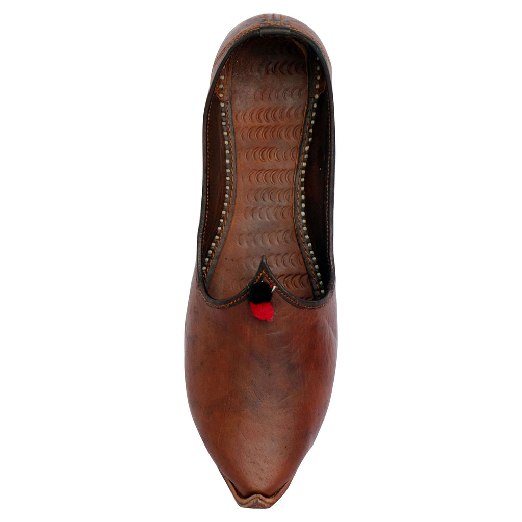 Decent Brown Pure Leather Punjabi Jutti