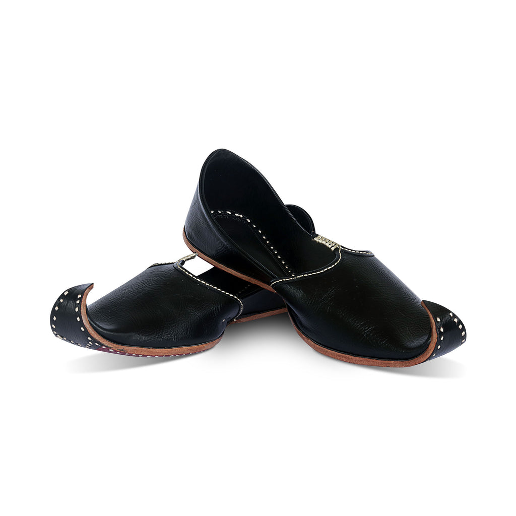 Black Pure Leather Jutti