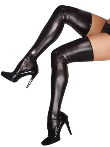 Thigh High Wet Look Latex Style Stockings
