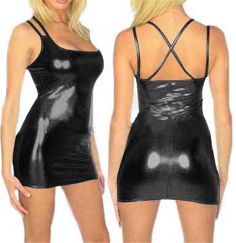 Hot Sexy Spaghetti Strap Faux Leather Erotica Dress