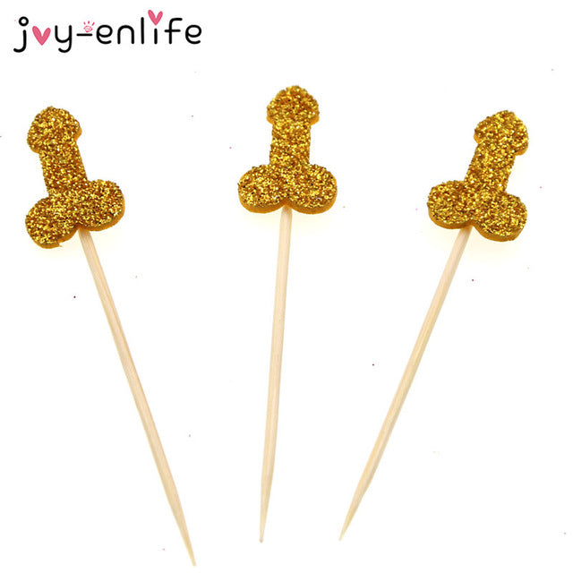 12 Piece Glitter Willy Cupcake Toppers