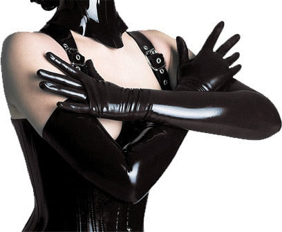 Black Faux Leather Latex Hip-pop Jazz Long Gloves
