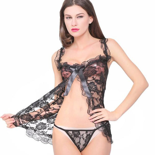 Print Mesh Babydoll with Bow & G-string