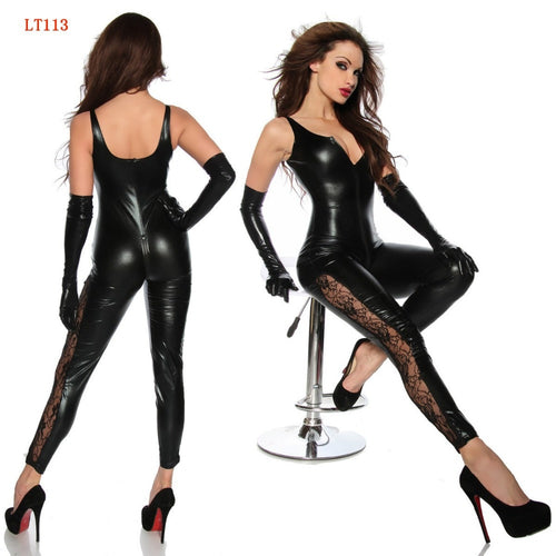 Black Faux Leather Sleeveless Catsuit with Zipper and Lace Up Sides