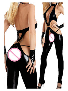 Sexy Faux Leather PVC Jumpsuit