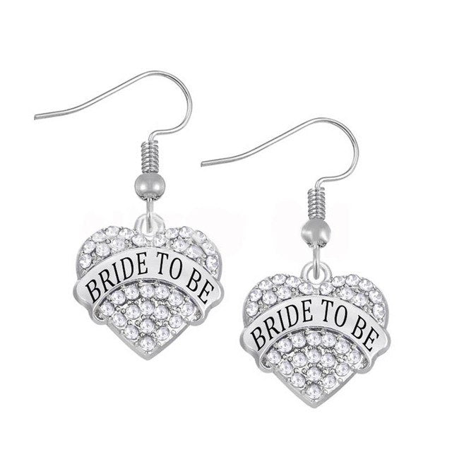 Bride to be Heart Necklace & Earring Set