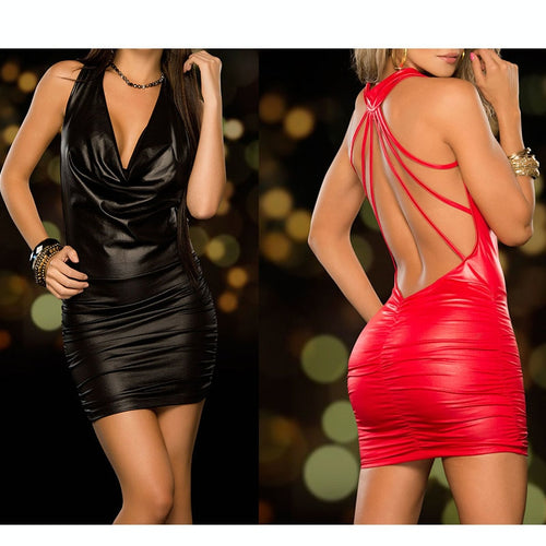 Tight-fitting Slim Wet Look Deep-V Neck Backless PVC Leather Mini Dress