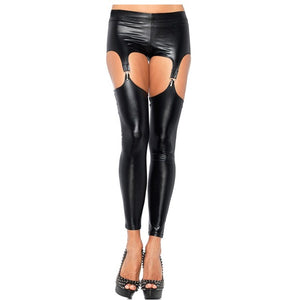 Faux Leather Black Thigh High Sexy Latex Stockings with Suspender Belt and 4 Clips