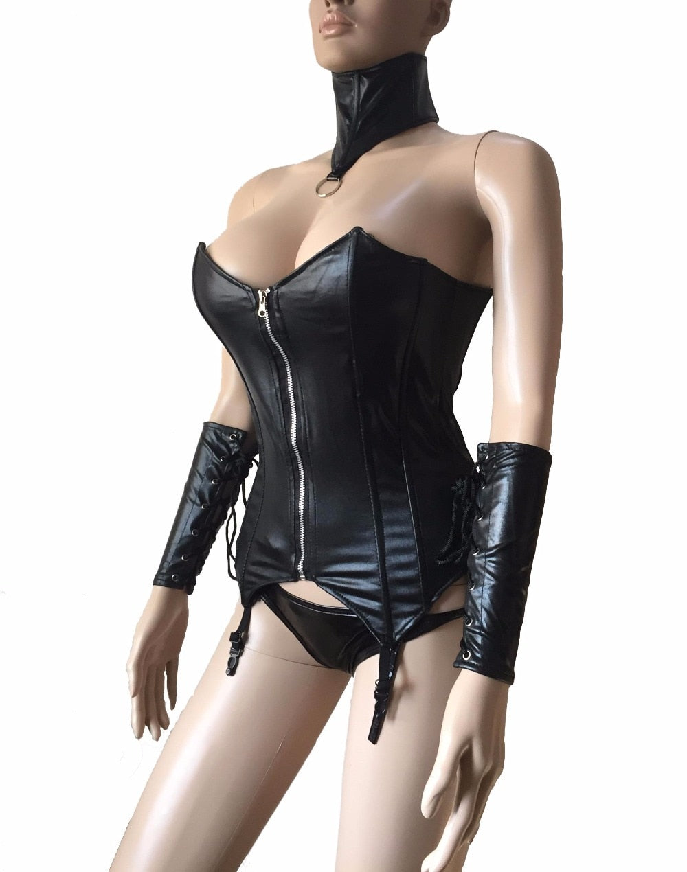 Black Faux Leather Front Zip Bustier with Neck Collar and Gloves
